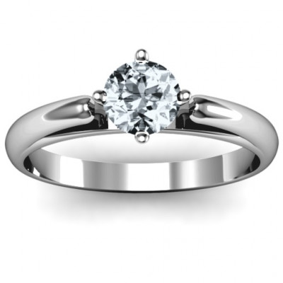 Ski Tip Solitaire Round Ring - The Name Jewellery™