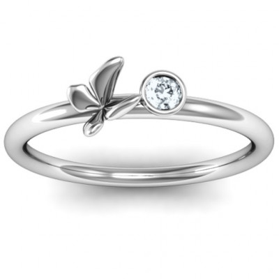 Soaring Butterfly with Stone 'Flower' Ring - The Name Jewellery™