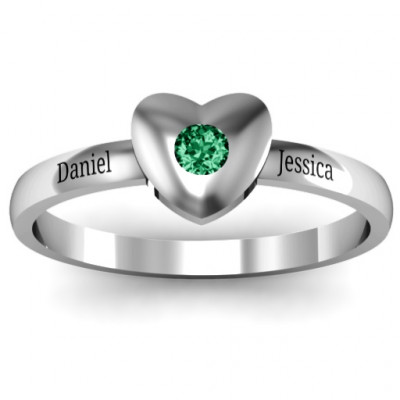 Solid Heart with Single Gemstone Ring - The Name Jewellery™