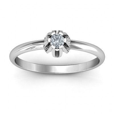 Solitaire Gemstone Ring in a Scalloped Setting - The Name Jewellery™