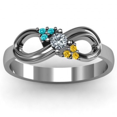 Solitaire Infinity Ring with Accents - The Name Jewellery™