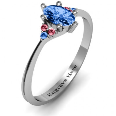 Solitaire Oval with Triple Accents Ring - The Name Jewellery™