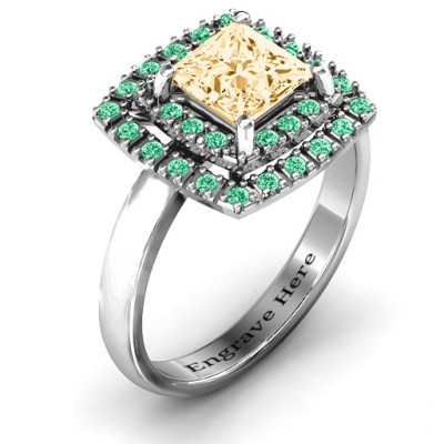 Splendid Double Halo Princess Ring - The Name Jewellery™
