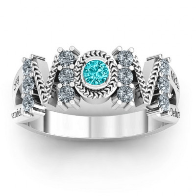 Split Shank Stone Filled MOM Ring - The Name Jewellery™