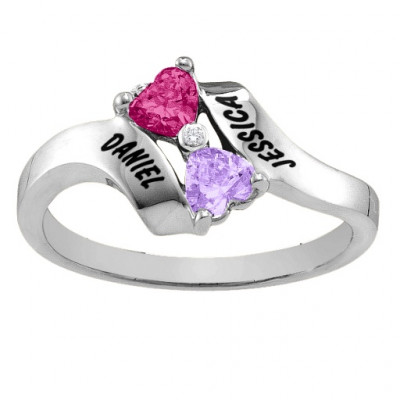 Sterling Silver  Rhapsody  Kissing Hearts Ring - The Name Jewellery™