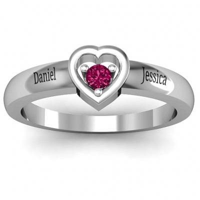 Sterling Silver  Solitaire  Heart Ring - The Name Jewellery™