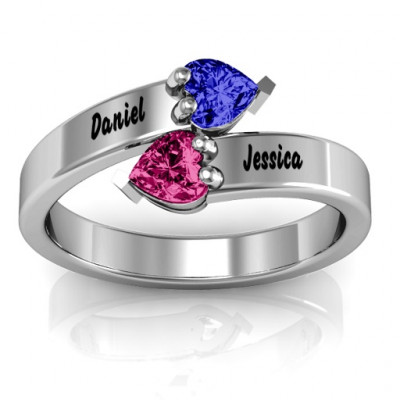 Sterling Silver  Tribute  Hearts Bypass Ring - The Name Jewellery™