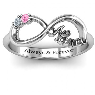 Sterling Silver 2-10 Stone Nana Infinity Ring - The Name Jewellery™