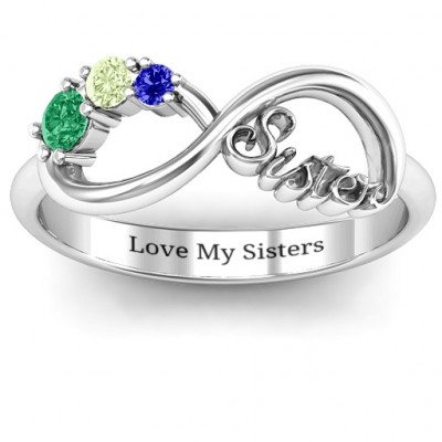 Sterling Silver 2-4 Stone Sisters Infinity Ring - The Name Jewellery™