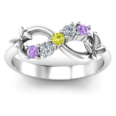 Sterling Silver 5 Stone Infinity with Soaring Butterflies - The Name Jewellery™