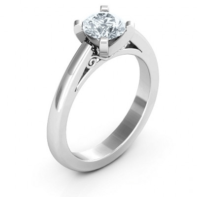 Sterling Silver Adoration Solitaire Ring - The Name Jewellery™