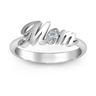 Sterling Silver All About Mom Birthstone Ring - The Name Jewellery™