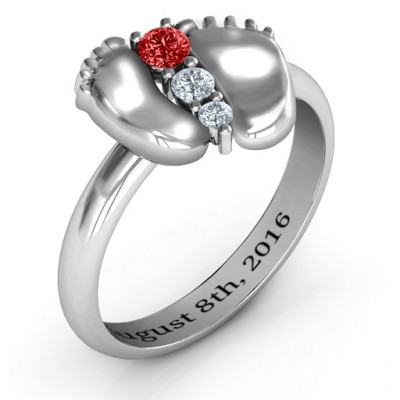 Sterling Silver Baby Foot Birthstone Ring - The Name Jewellery™