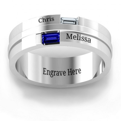 Sterling Silver Baguette Men's Ring - The Name Jewellery™