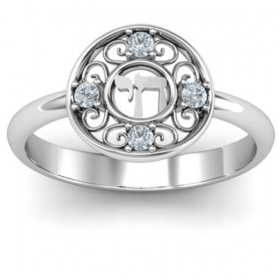 Sterling Silver Chai Filigree Ring - The Name Jewellery™