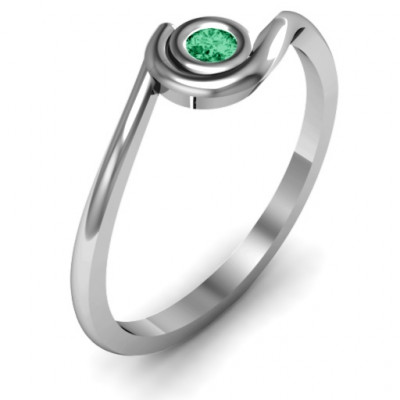 Sterling Silver Curved Bezel Ring - The Name Jewellery™