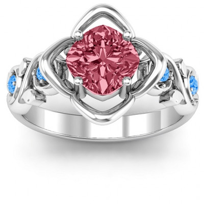 Sterling Silver Cushion on Flowers Ring - The Name Jewellery™