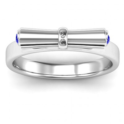 Sterling Silver Diploma Scroll Graduation Ring - The Name Jewellery™