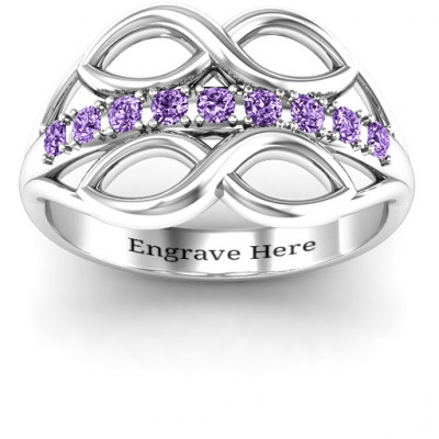Sterling Silver Double Infinity Ring with Accents - The Name Jewellery™