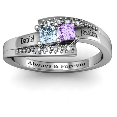 Sterling Silver Double Princess Bypass with Accents Ring - The Name Jewellery™