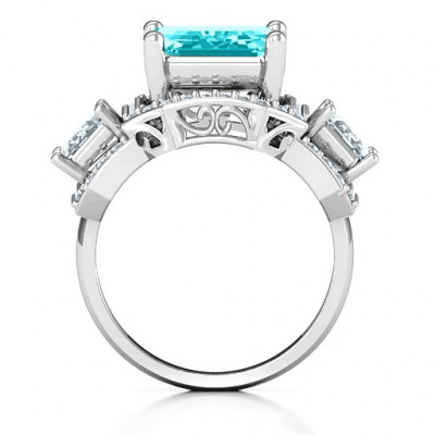Sterling Silver Emerald Cut Trinity Ring with Triple Halo - The Name Jewellery™