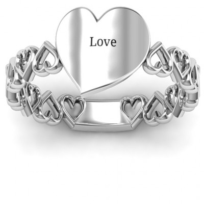 Sterling Silver Engravable Cut Out Hearts Ring - The Name Jewellery™