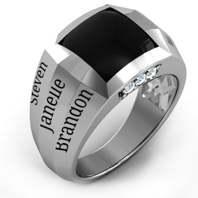 Sterling Silver Engravable Statement 6-Stone Men's Ring - The Name Jewellery™