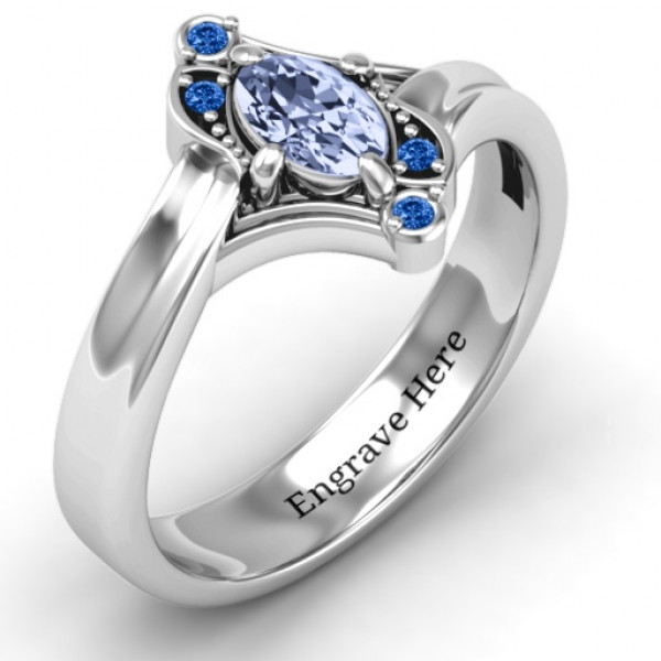 Sterling Silver Fancy Oval Asymmetrical Ring - The Name Jewellery™