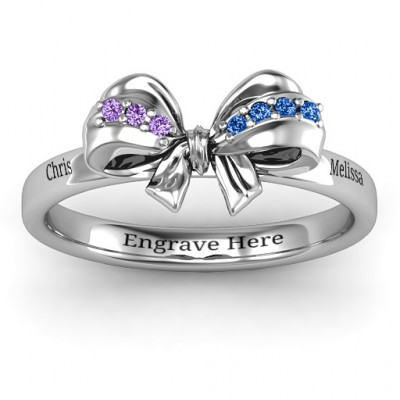 Sterling Silver Fancy Stone Set Bow Ring - The Name Jewellery™