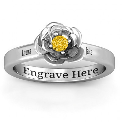 Sterling Silver Flourish Rose Ring - The Name Jewellery™