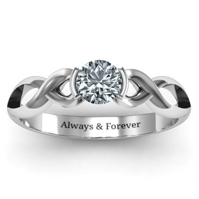 Sterling Silver Half Bezel Infinity Ring - The Name Jewellery™