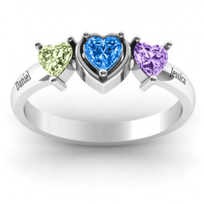 Sterling Silver Heart Stone with Twin Heart Accents Ring - The Name Jewellery™