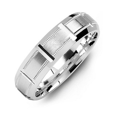 Sterling Silver Horizontal-Cut Men's Ring with Beveled Edge - The Name Jewellery™