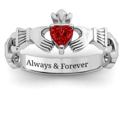 Sterling Silver Infinity Claddagh with Heart Stone Ring and Amethyst (Simulated) Stone - The Name Jewellery™