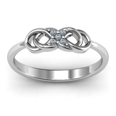 Sterling Silver Infinity Knot Ring with Accents - The Name Jewellery™