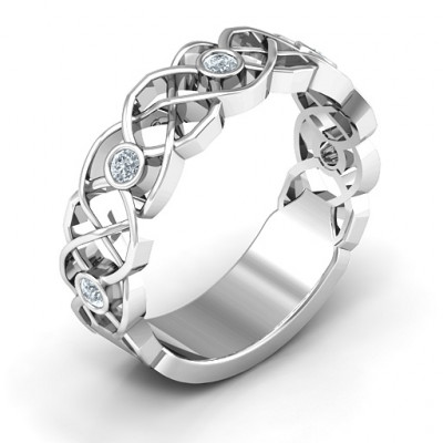 Sterling Silver Intertwined Love Band Ring - The Name Jewellery™