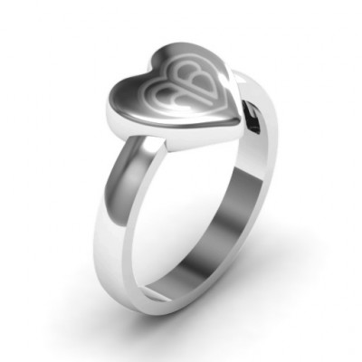 Sterling Silver Large Engraved Monogram Heart Ring - The Name Jewellery™