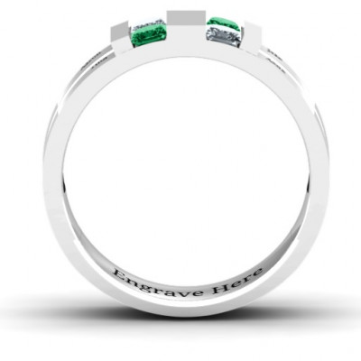 Sterling Silver Leonidas Grooved Men's Ring - The Name Jewellery™