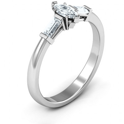 Sterling Silver Marquise Cut Love Ring - The Name Jewellery™