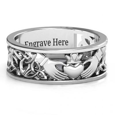 Sterling Silver Men's Celtic Claddagh Band Ring - The Name Jewellery™