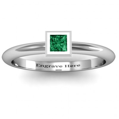 Sterling Silver Ovation Classic Princess Setting Ring - The Name Jewellery™
