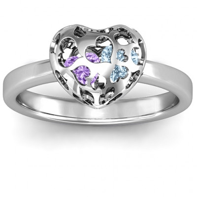Sterling Silver Petite Caged Hearts Ring with 1-3 Stones - The Name Jewellery™
