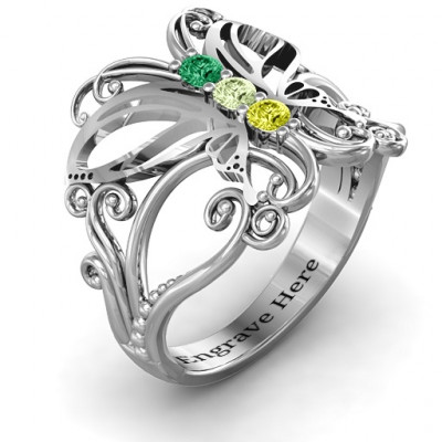 Sterling Silver Precious Butterfly Ring - The Name Jewellery™