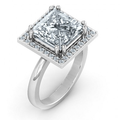 Sterling Silver Princess Cut Cocktail Ring with Halo - The Name Jewellery™