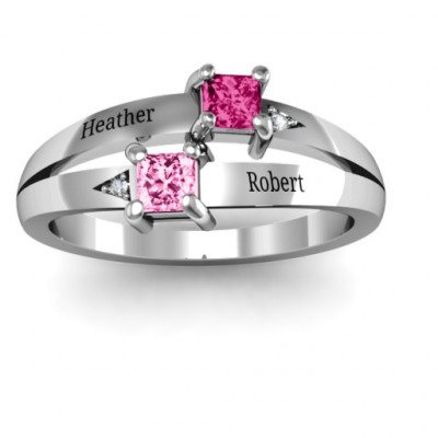 Sterling Silver Princess Stone and Accent Ring - The Name Jewellery™