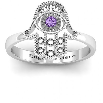 Sterling Silver Protection Hamsa Ring - The Name Jewellery™