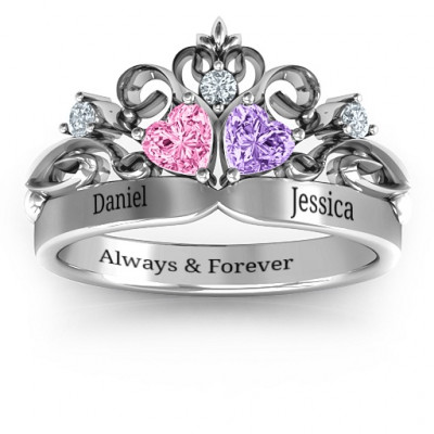 Sterling Silver Royal Romance Double Heart Tiara Ring with Engravings - The Name Jewellery™