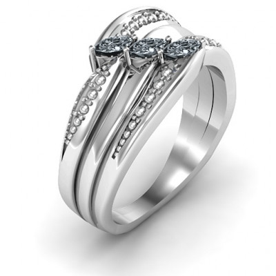 Sterling Silver Shimmering Triple-Marquise Ring - The Name Jewellery™