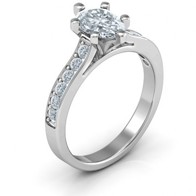 Sterling Silver Shining in Love Ring - The Name Jewellery™