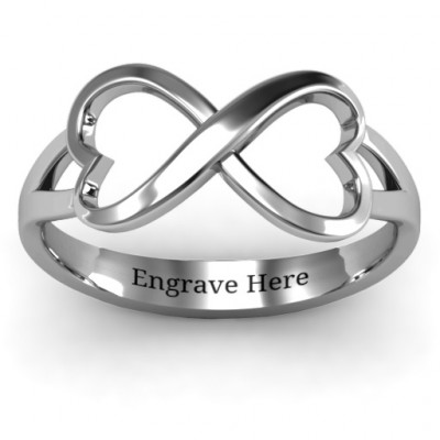 Sterling Silver Simple Double Heart Infinity Ring - The Name Jewellery™